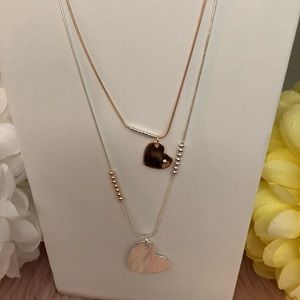 Jewelry - Long heart necklace. Silver and copper